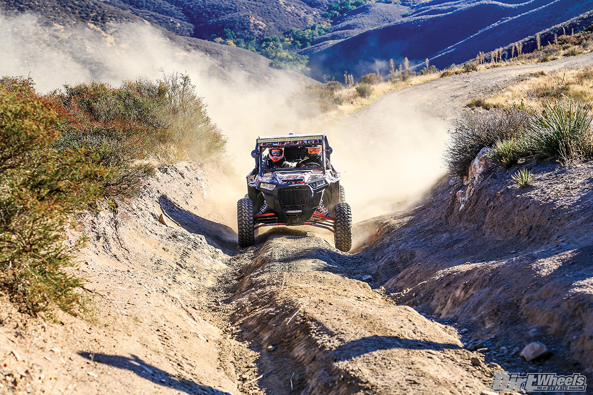 Teixeira Tech's high-clearance A-arms don't change geometry, but they are strong and offer great ground clearance. When you hit trails like this, the clearance is vital to finishing the ride.