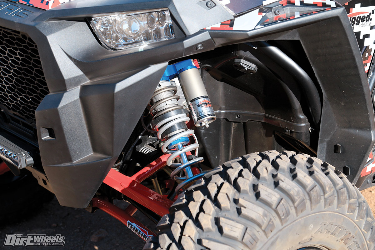 (Bottom) Velocity Series Walker Evans shocks are very nice. We compared them with production RZR XP 1000 Walker Evans shocks. The Velocity Series shocks are better controlled at all times.