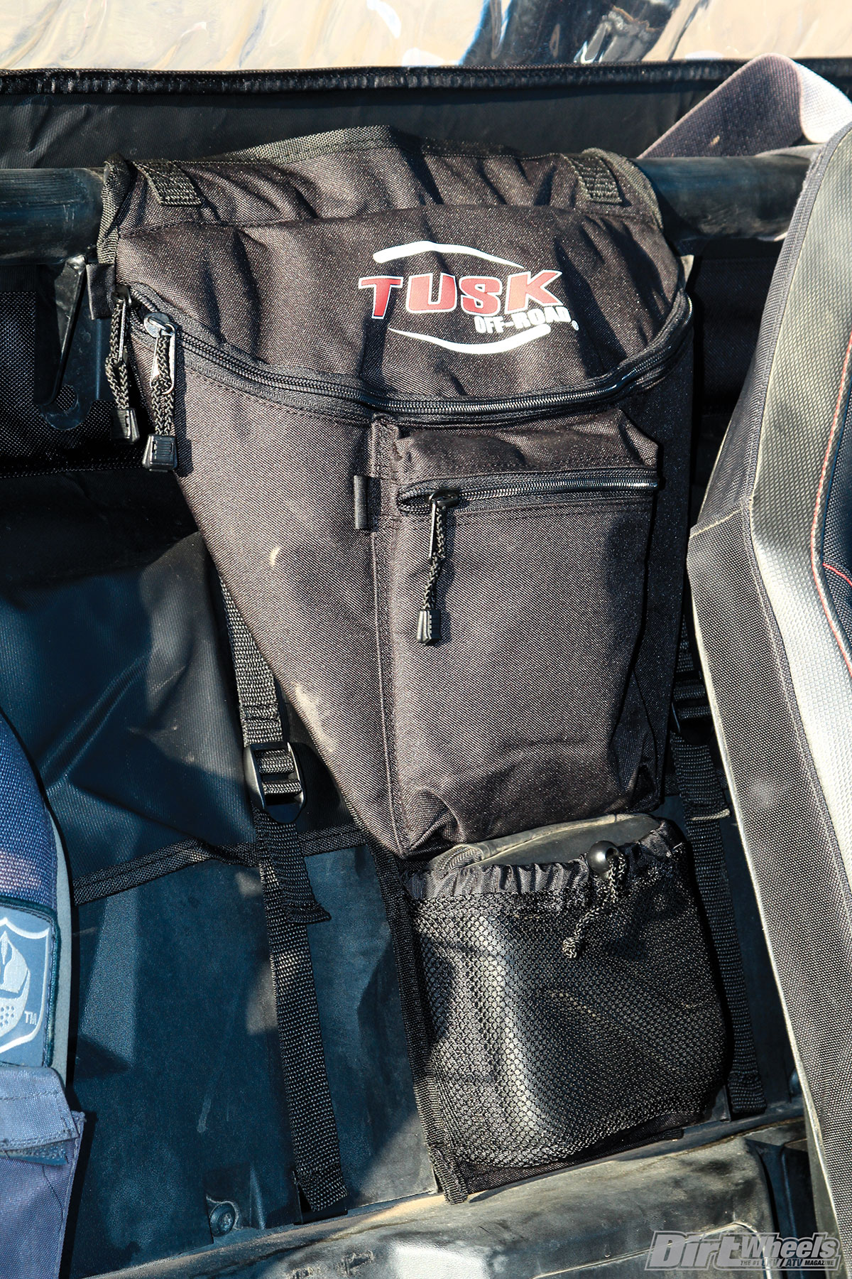 The Tusk cab bag holds enough tools to change the belt on your machine, hold a mini compressor and a plug kit, and more.