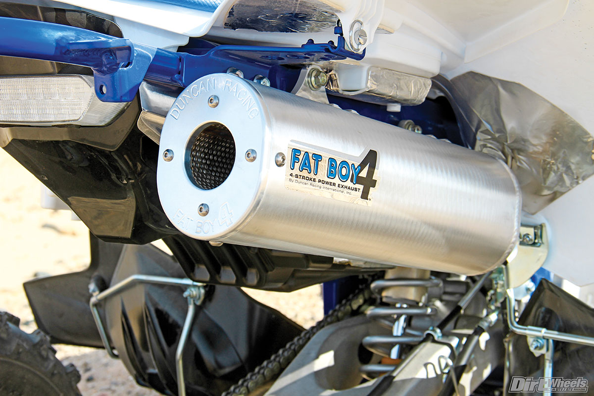 The Duncan Racing Fat Boy 4 full-exhaust system has the looks and sound of a winner. We felt big power gains with this and the Pro Design air filter kit installed.