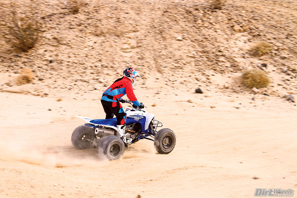 Once we got it tuned, the YFZ-R made quick work of rough sections like these whoops much better than before. The quad felt more alive.