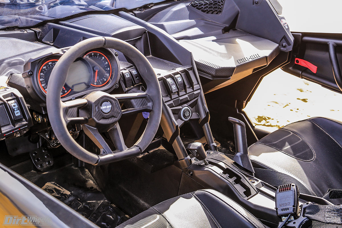 Can-Am has really done their homework in the cockpit. The seats make you feel like you're a part of the machine, the steering wheel is comfortable and it has a tilt steering column.