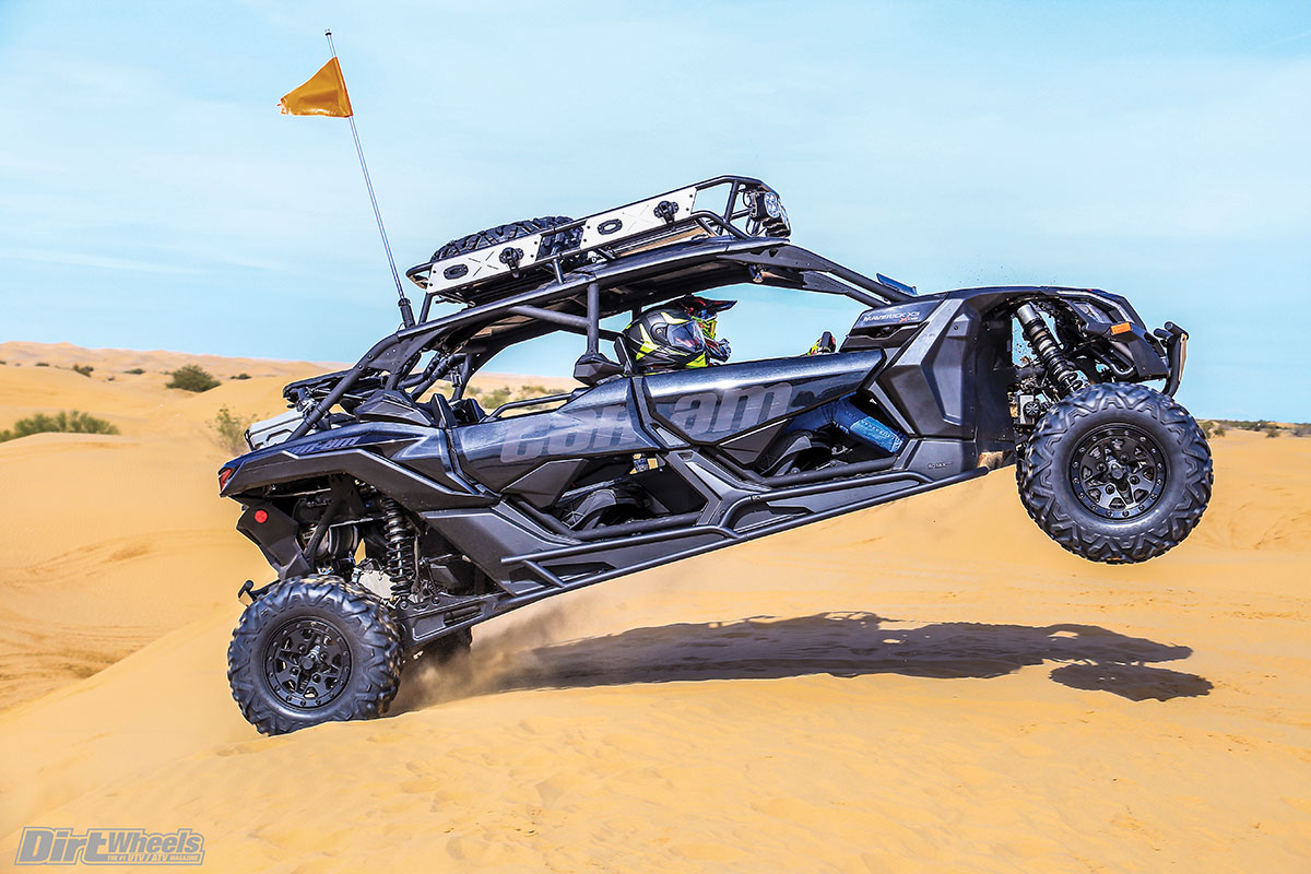 The Fox 2.5 RC2 shocks make for a comfortable ride. The X3 Max went through rough whoop sections better than any stock four-seat UTV we've testd.