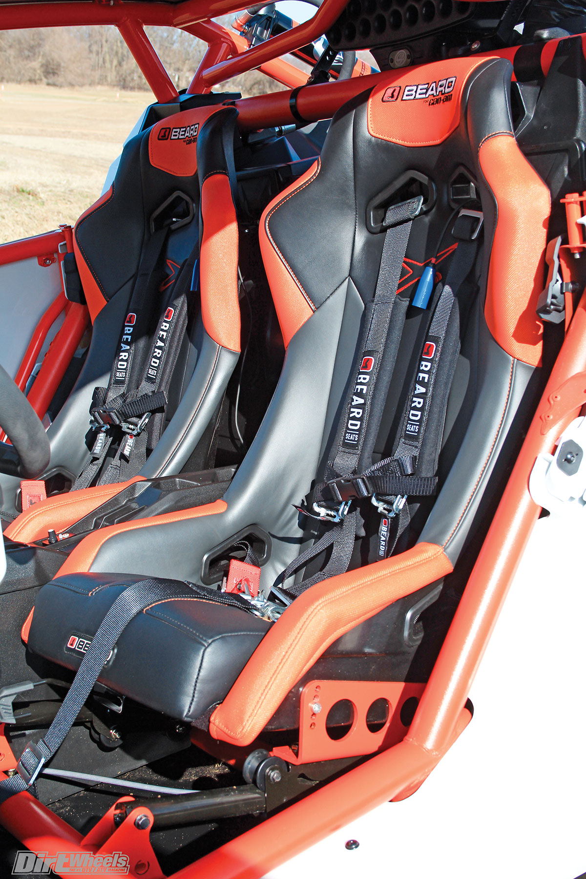 Beard Seats teamed up with Can-Am to create seats for the X3 that are more comfortable and hold you in place better. Five-point racing harnesses were installed on the Can-Am.