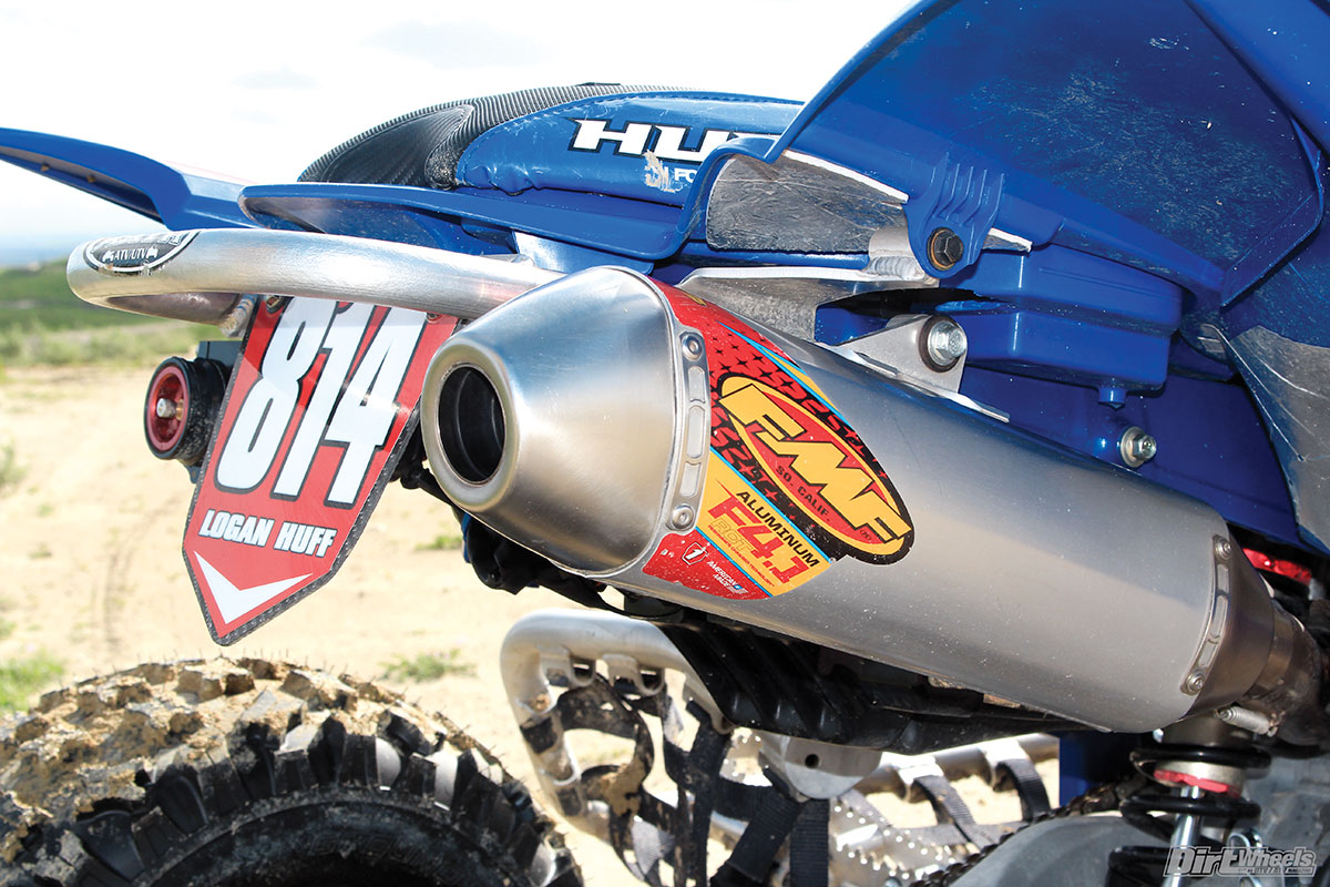(Above) A full-FMF exhaust system helps pull more horsepower out of this YFZ450R with the help of a Sparks intake and a Vortex ECU.