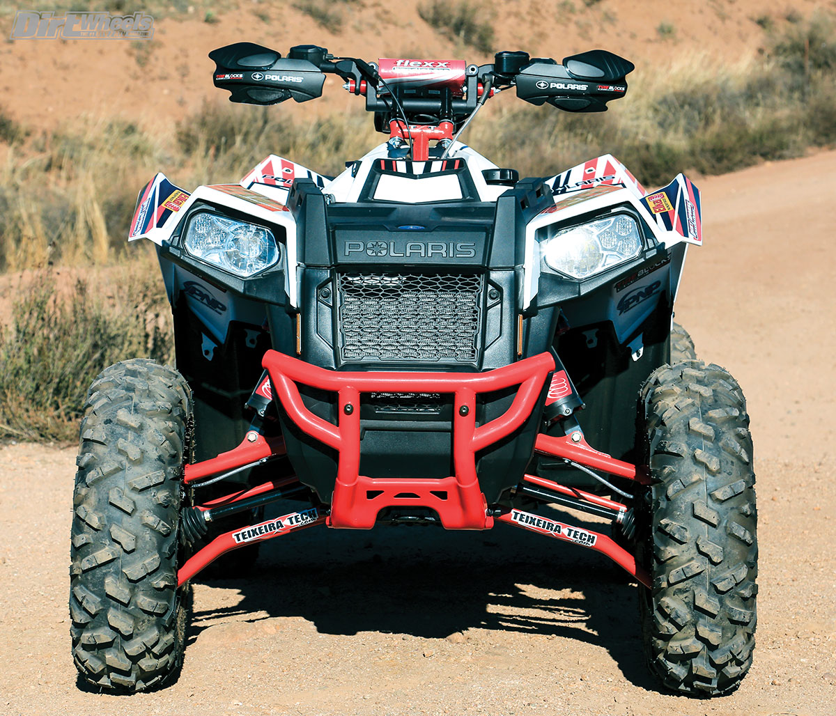 The Teixeira Tech XGC (Xtreme Ground Clearance) WX A-arms are a big improvement over the stock arms when it comes to ground clearance, and they offer 2 degrees of caster for improved handling.