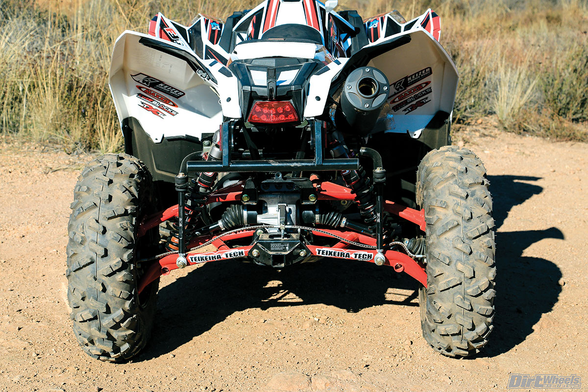 Like the front, the Teixeira Tech XGC WX A-arms are mounted in the rear. Another benefit of these arms is being able to run a longer shock with more travel than stock.