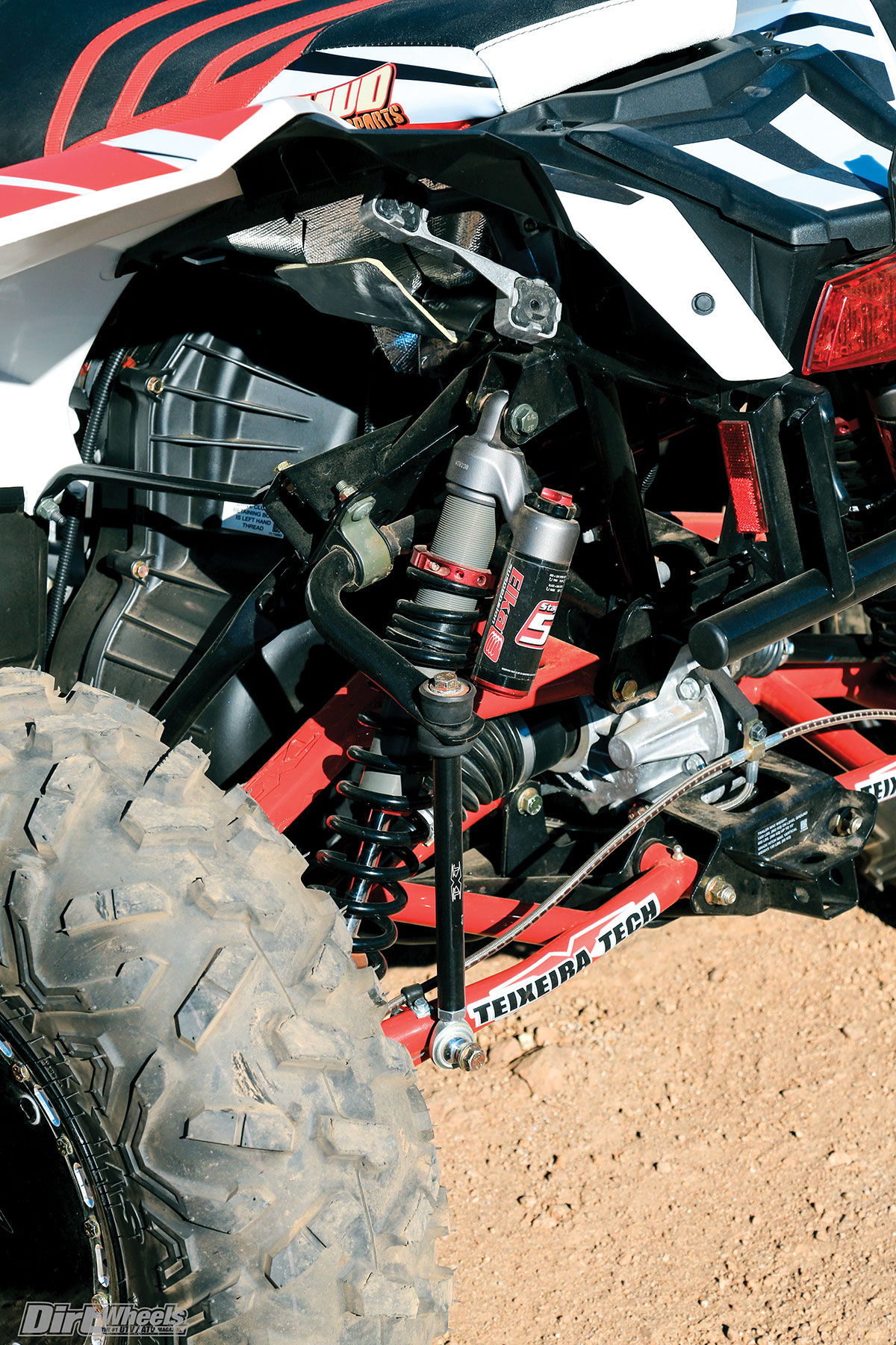 Elka fully adjustable Stage 5 shocks are mounted to all four corners, and they work well in the rough.