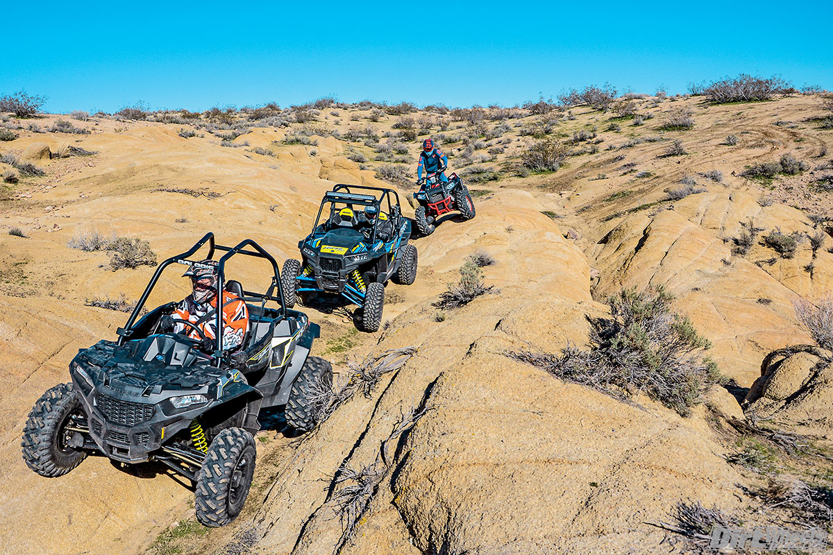 Despite similar displacement and the same brand, the Polaris Scrambler XP 1000 4x4 sport quad, the single-seat compact Ace 900 XC and the RZR XP 1000 are all amazingly different. It is hard to beat the Scrambler for pure thrill. In this group it is remarkably well suspended, overtly muscular and supremely capable. It has the advantage of fitting in the bed of most trucks.