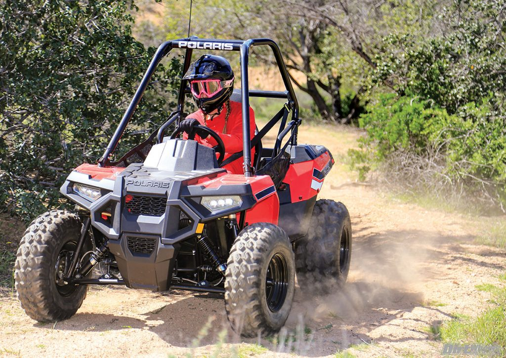 The Ace 150 is happy on any trail that will fit a quad. It is best if you avoid deep sand and steep climbs, though.