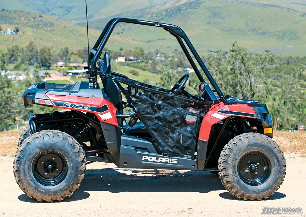 Polaris provided the Ace 150 with a sporty rake, good yet safe performance and net doors that are light and vented yet protective.
