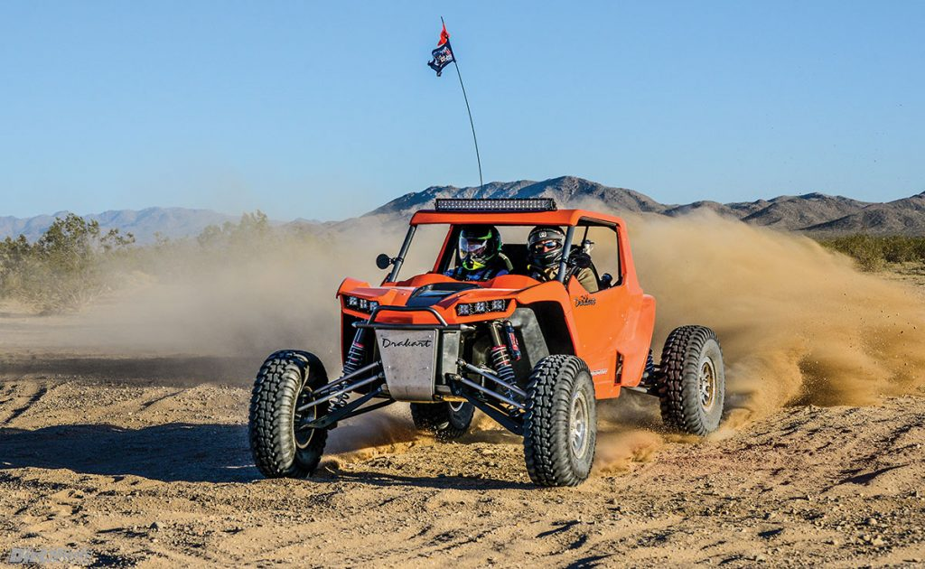 With desert tires, the Drakart corners so flat that it is amazing. It feels extremely secure at speed in the rough. It accelerates like crazy