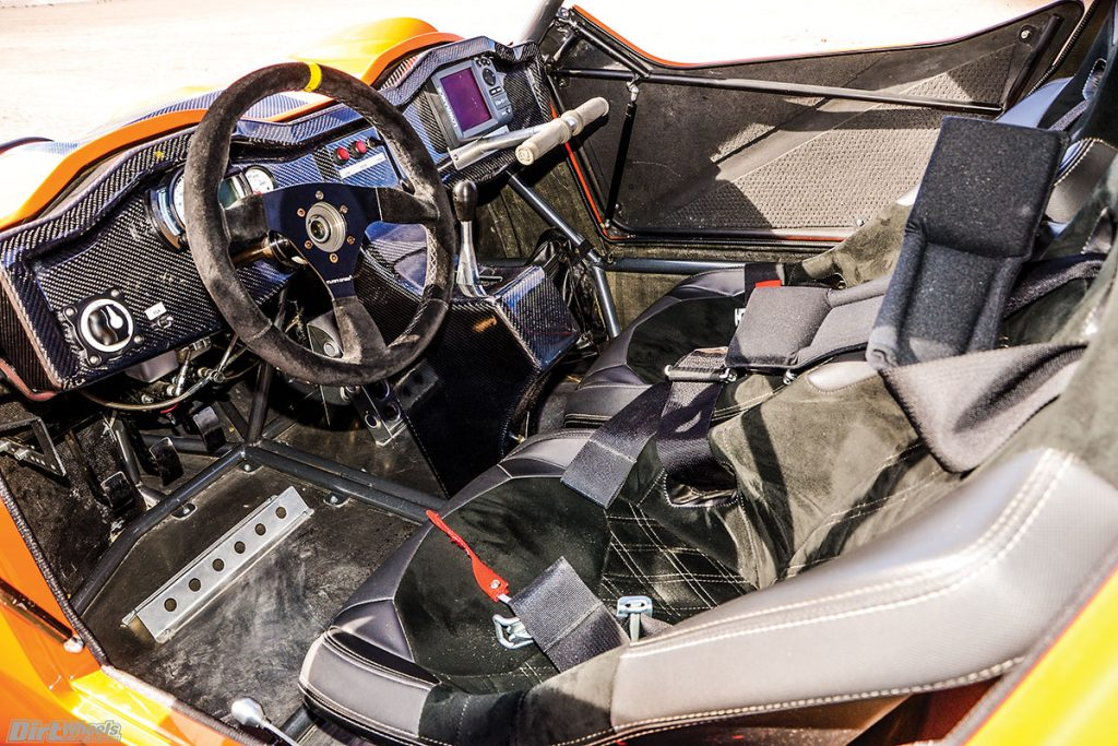 The interior is clean and purposeful in appearance. All of the controls are built to fit the owner. The switch to the left of the steering wheel is for the almost infinitely adjustable EPS.