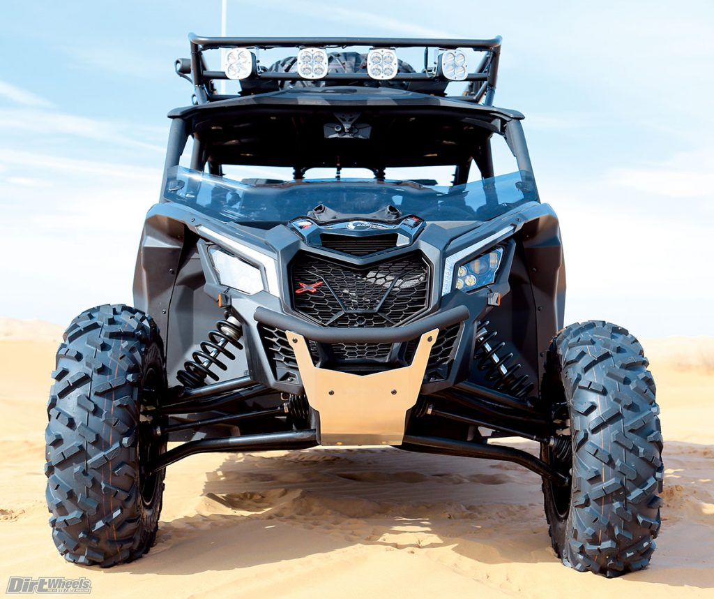 The front suspension of the X3 X ds has 20 inches of travel with the aid of compression- and rebound-adjustable Fox shocks.