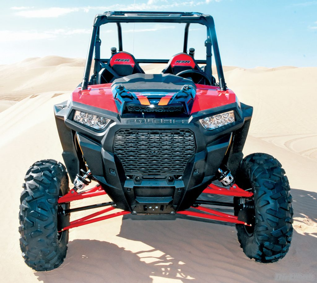 The front suspension of the XP Turbo has 16 inches of travel through a dual-A-arm design and compression-adjustable Fox shocks.