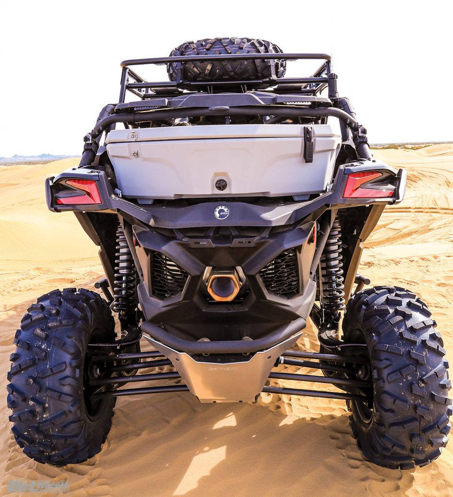 The X3's rear suspension is a trailing-arm type with 20 inches of wheel travel. Can-Am designed three radius rods per trailing arm to reduce the possibility of breakage.