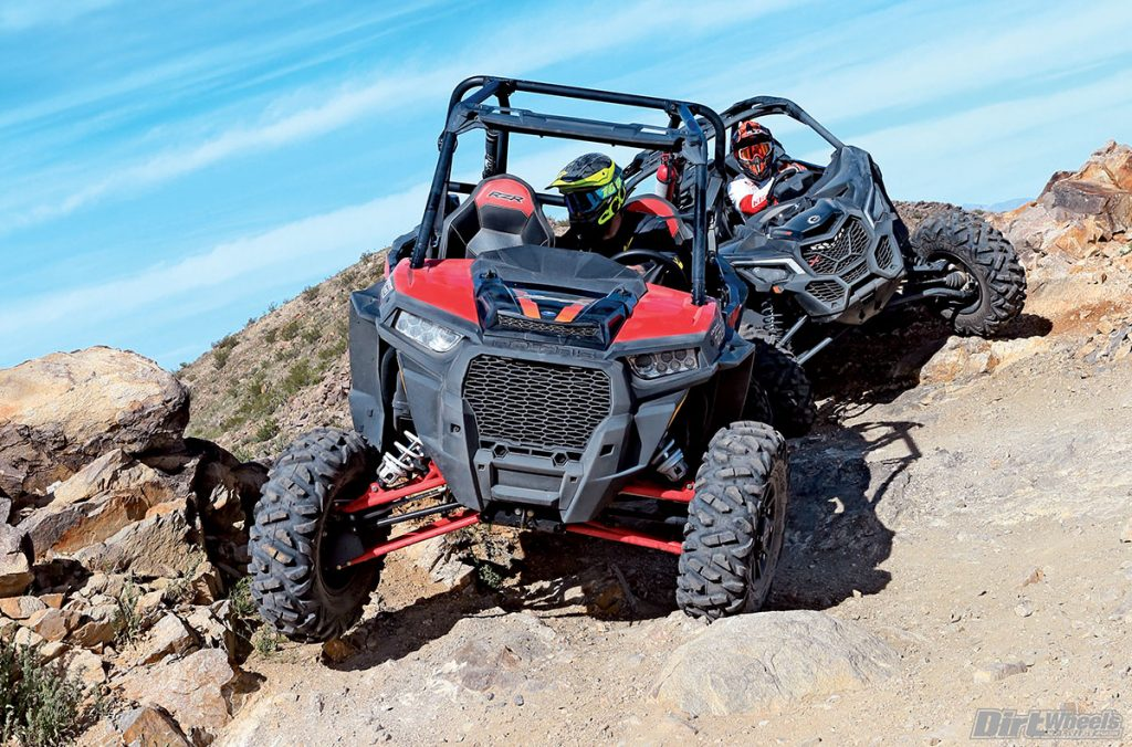 The Polaris has a higher center of gravity, which makes it more prone to rolling over, but the suspension is smoother over small chop and slow-speed driving.