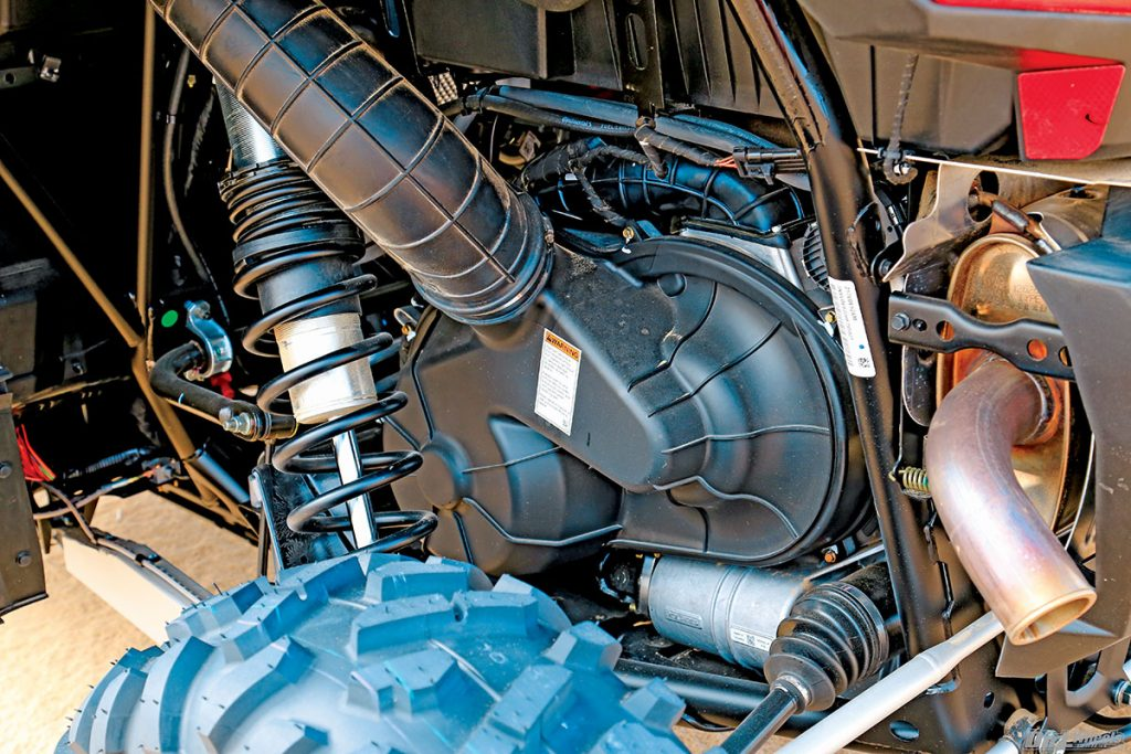 The XP Turbo uses a parallel-twin-cylinder four-stroke engine that is turbo-inducted with 168 horsepower, which is 8 more ponies over the Maverick.