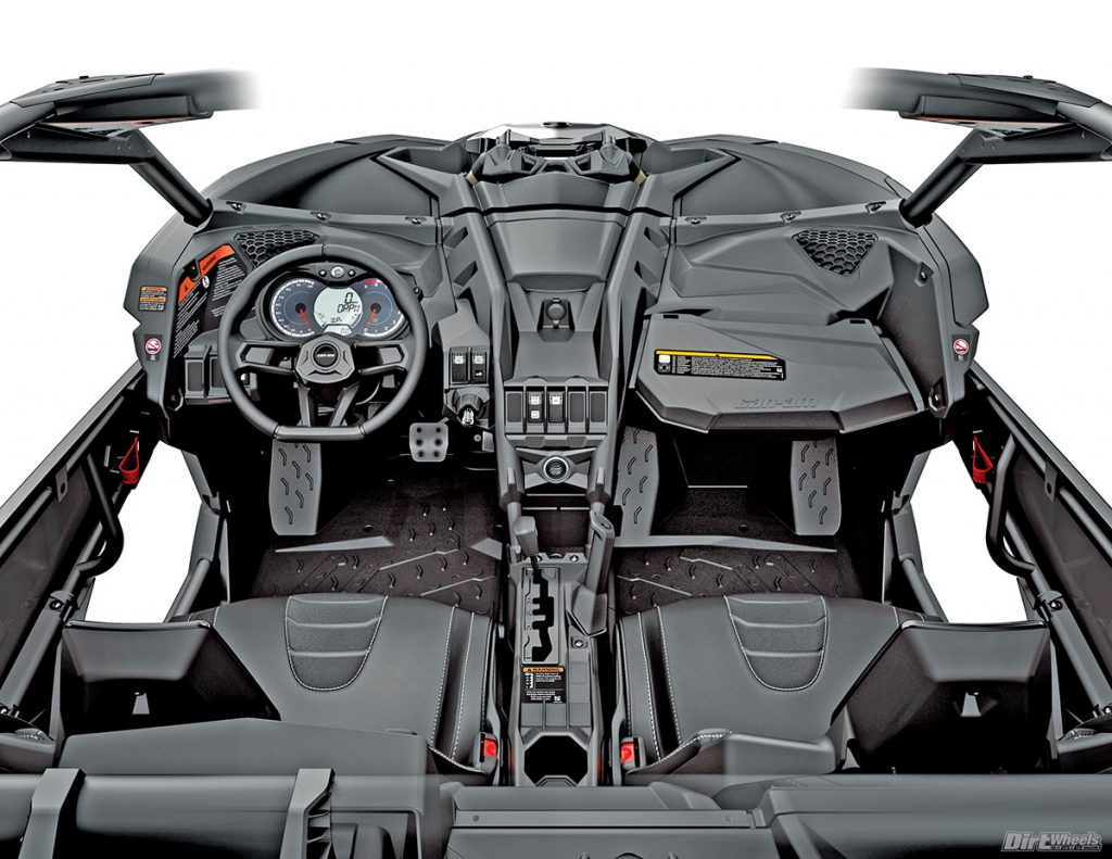 The cockpit of the Can-Am was more immersive and unique-looking than the RZR's. The seats also reclined more, but the steering wheel was by far more comfortable to use.
