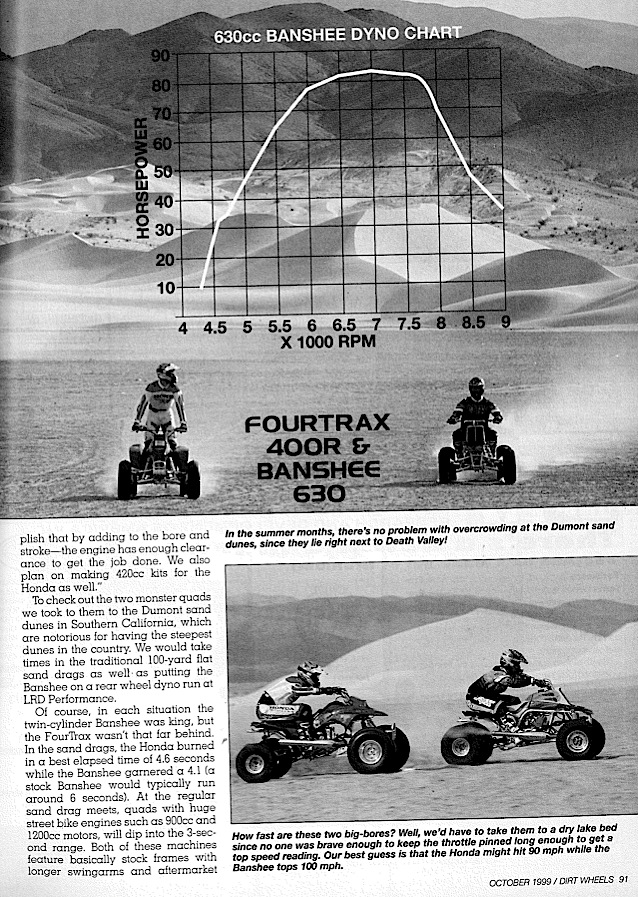 TRX400R vs  BANSHEE 630 | Dirt Wheels Magazine