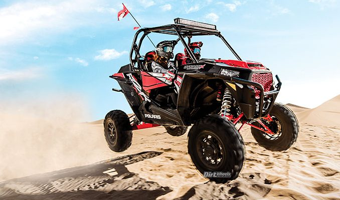 Whenever the new 2018 Polaris RZR XP Turbo Dynamix is in the air for more than one-quarter of a second, the suspension electronically adjusts to full stiff for the landing.
