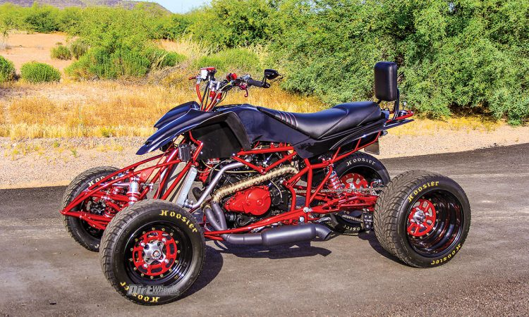 Both quads can haul a passenger thanks to a sissy bar and buddy pegs. The three-piece aluminum wheels from Keizer are extremely tough and offer a custom look.