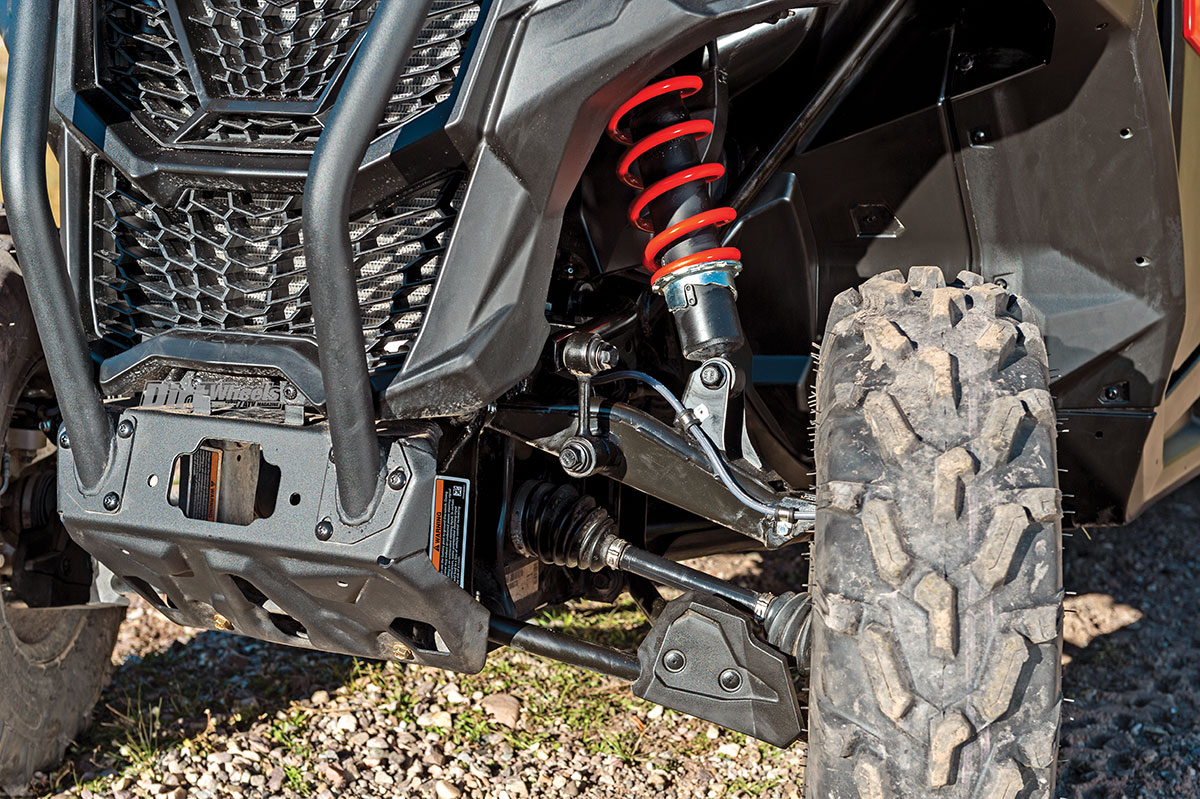 Can Am Maverick Trail Dirt Wheels Magazine Had A Guy Ask Me To Look At The Electrical On His Sidebyside In Front Uses Much Shorter Shock But Suspension Has Only Half An Inch Less Travel Steering Is Quite Accurate With Good