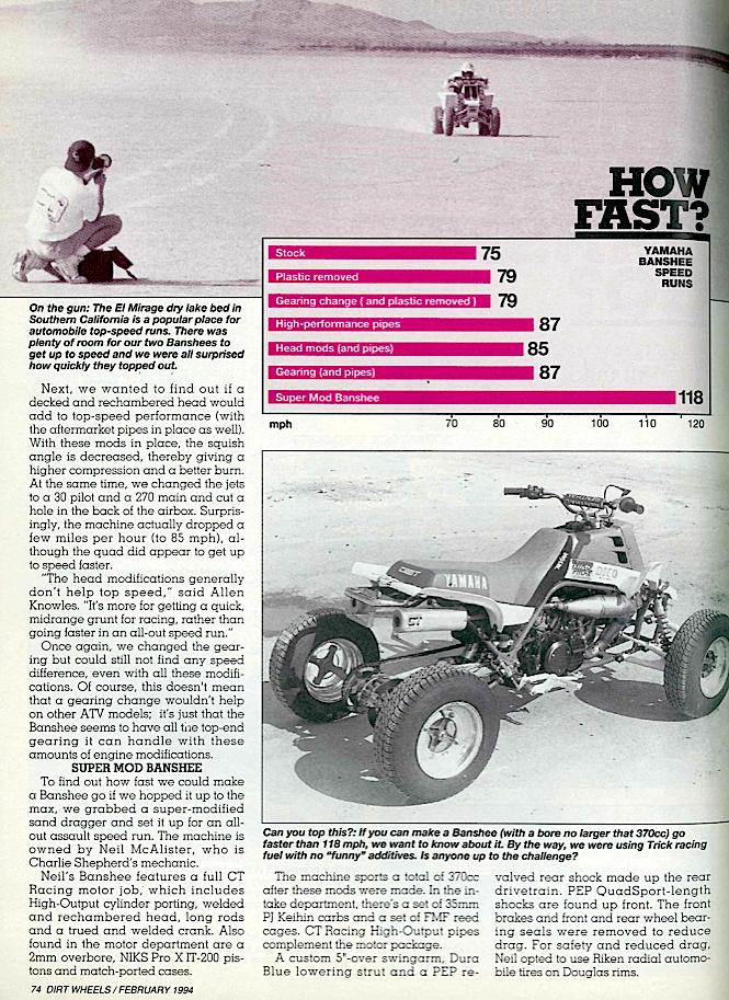 how fast can a banshee go dirt wheels magazine how fast can a banshee go dirt